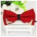 Corbata Michi - Color Rojo Vino - Aplicaciones Doradas de Metal - Un Pliegue