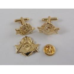 Set Gemelos + Pin - Dorado - Escuadra y Compas