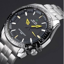 Reloj de Pulsera - Acero Inoxidable - Análogo - Cuarzo - Dial Negro - Manecillas Amarillas - Ajustable - De Moda - Hombres