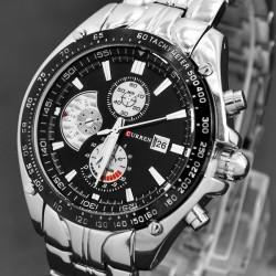 Reloj de Pulsera - Fechador - Acero Inoxidable - Análogo - Cuarzo - Dial Negro - Ajustable - De Moda - Hombres