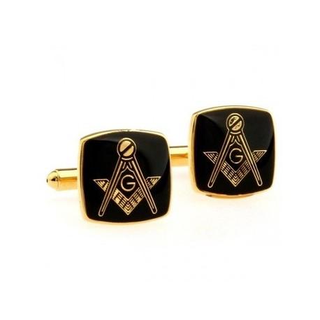 Gemelos - Cuadrangulares - Dorados con Negro - Motivo Masónico