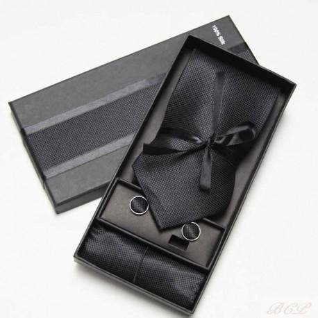 Set Corbata + Pañuelo + Gemelos