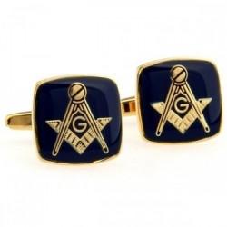 Gemelos - Cuadrangulares - Dorados con Azul - Motivo Masónico