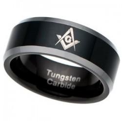 Anillo Masónico - Tungsteno Carbide - Negro con Plateado