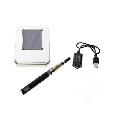 Cigarro Electrónico-Negro-EGO Kit 1100 mah-Pantalla LCD-1.6ml CE4 Atomizer-Cargador USB-Caja Metálica