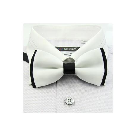 Corbata Michi - Bicapa - Color Blanco con Negro - Nudo Inglés