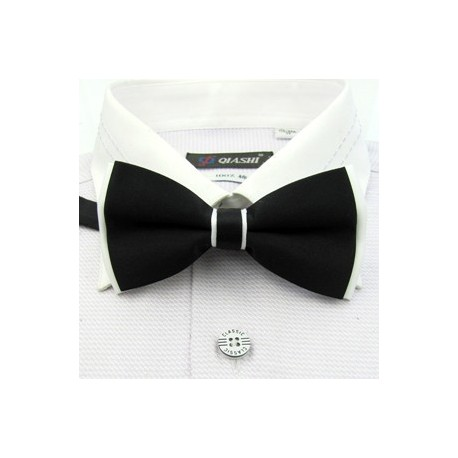 Corbata Michi - Bicapa - Color Negro con Blanco - Nudo Inglés