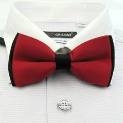 Corbata Michi - Bicapa - Rojo y Negro - Sujetador de Metal - Un Pliegue