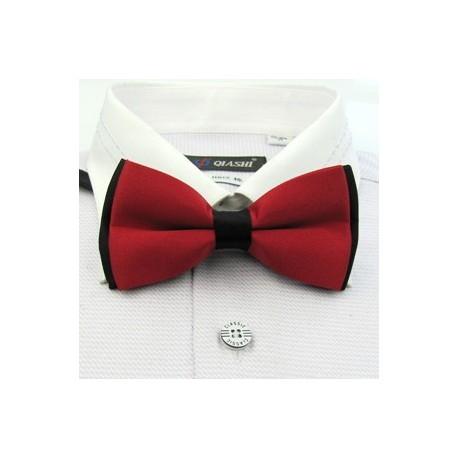 Corbata Michi - Bicapa - Color Rojo con Negro - Nudo Inglés