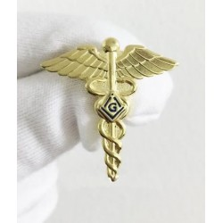 Pin Masónico Caduceo de Hermes Dorado