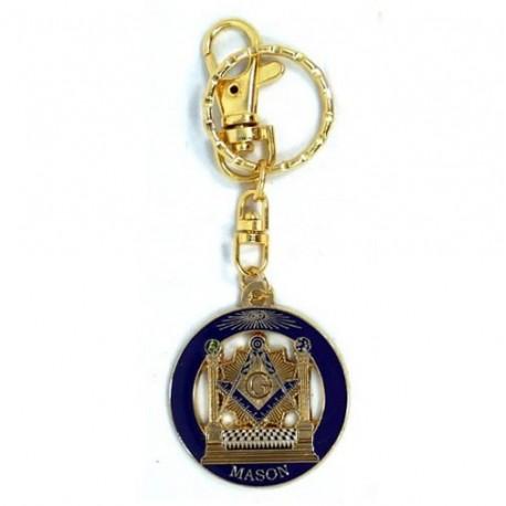 Llavero - Circular - Dorado con Azul - Símbolos Masónicos