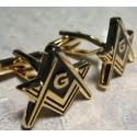 Gemelos - Triangulares - Dorados con Negro - Motivo Masónico