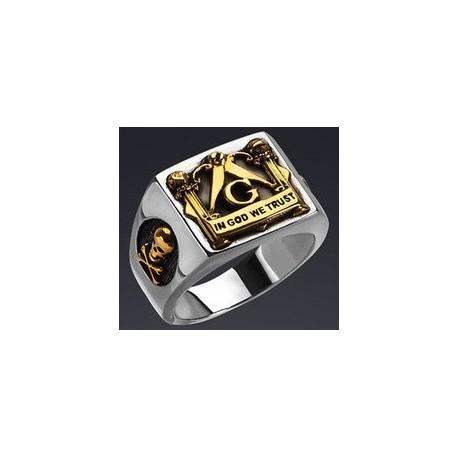 Anillo Masónico - Acero Inoxidable 316L - Plateado - Símbolos Masónicos Dorados