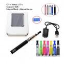 Cigarro Electrónico-EGO Kit 1100 mah-Pantalla LCD-1.6ml CE4 Atomizer-Cargador USB-Caja Metálica
