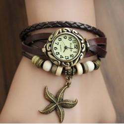 Reloj de Pulsera - Estilo Vintage - Correa 100% cuero - Pendiente Estrella de Mar