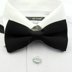 Corbata Michi - Color Negro - Sujetador de Metal - Un Pliegue