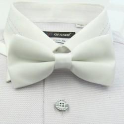 Corbata Michi - Color Blanco - Sujetador de Metal - Un Pliegue