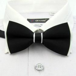 Corbata Michi - Bicapa - Negro y Blanco - Sujetador de Metal - Un Pliegue